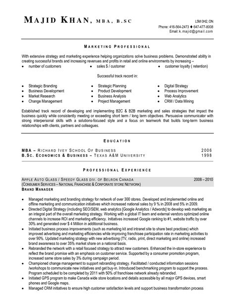 canadian resume sle