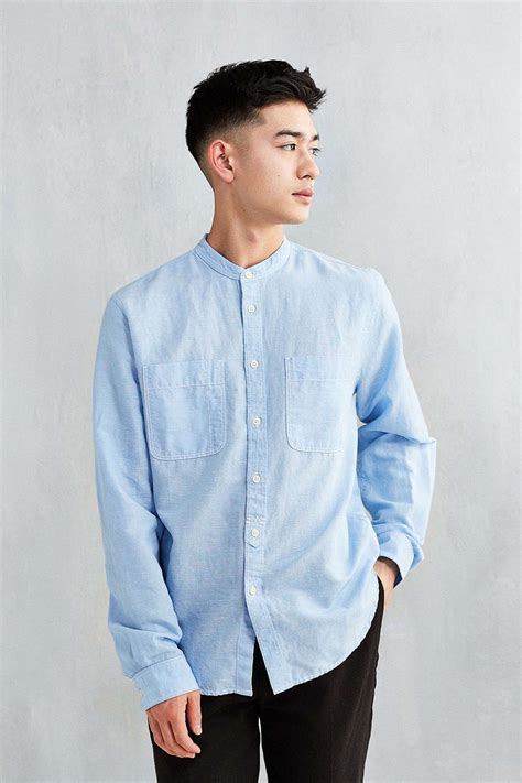 cpo banded collar  pocket shirt asian men hairstyle
