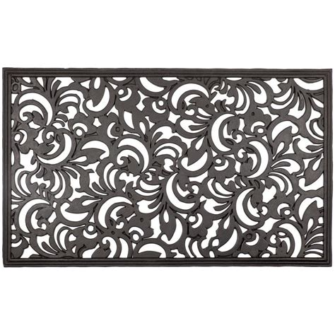 Entryways Doormats by Entryways Scroll Flowers 18 In X 30 In Recycled Rubber