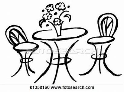 Table Bistro Clipart Cafe Chairs Drawing Tables