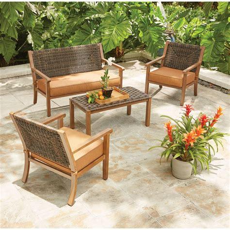 hton bay kapolei 4 wicker patio conversation set