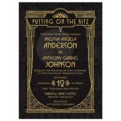 burlap and lace wedding invitations deco wedding invitation black gold roaring 20s