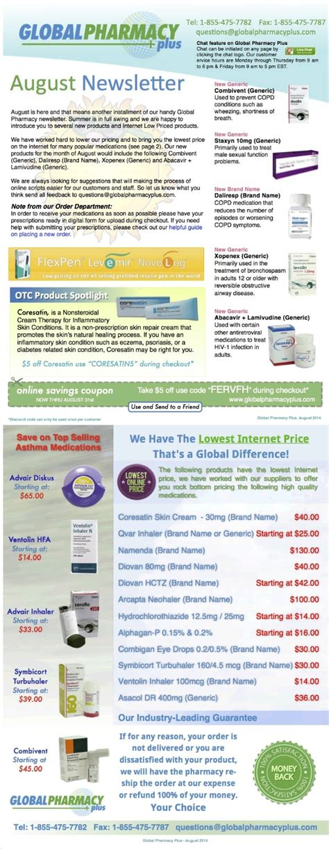 Global Pharmacy by Global Pharmacy Plus Coupons In August Newsletter