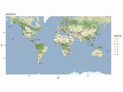 Earthquake Data Maps Analysis Package Gganimate Visualizing
