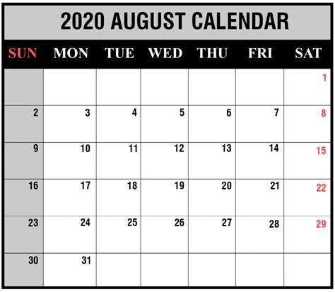 printable august  calendar templates pdfword