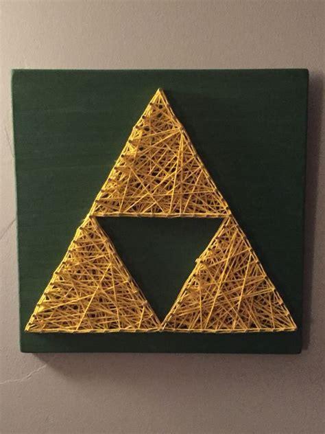 zelda triforce nail and string art https www etsy com