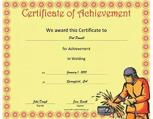 this welding achievement certificate features a welder in With welding certificate template