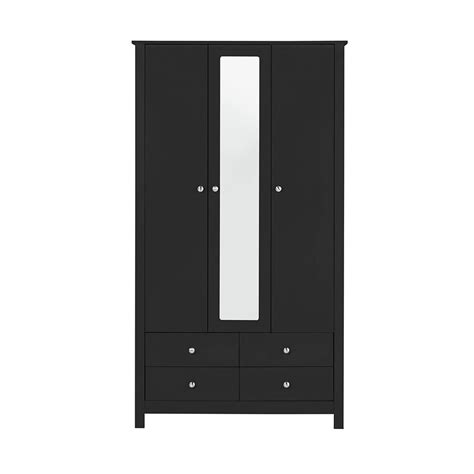 Black Wardrobe With Drawers by Florence 3 Door 4 Drawer Wardrobe With Mirror In Black