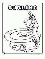 Coloring Curling Olympic Colouring Mp Template sketch template