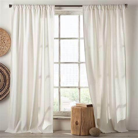 linen cotton curtain white west elm