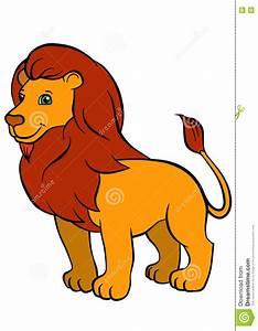 Cartoon Wild Animals For Kids. Cute Beautiful Lion. Stock ...