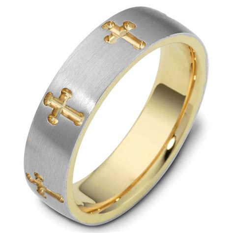 120971 gold comfort fit 6 0mm wide cross wedding ring