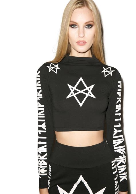 Long Clothing Hexagram Long Sleeve Crop Top | Dolls Kill