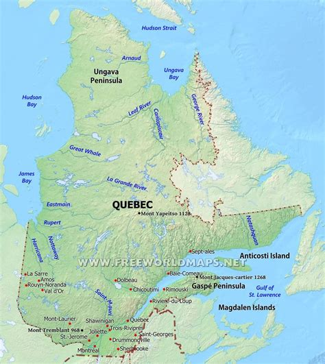 map  quebec city  surrounding area province cities