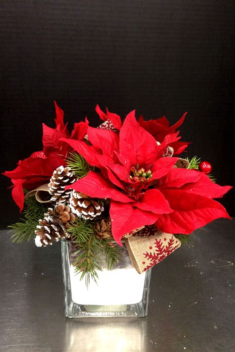 Decoration By Flowers - simple 3 poinsettia centerpiece wedding