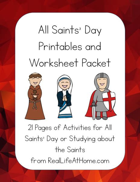 saints day printables packet  elementary  middle school kids