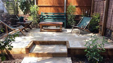 travertine paving patio modern garden design landscaping