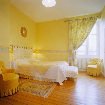 bedrooms with yellow curtains