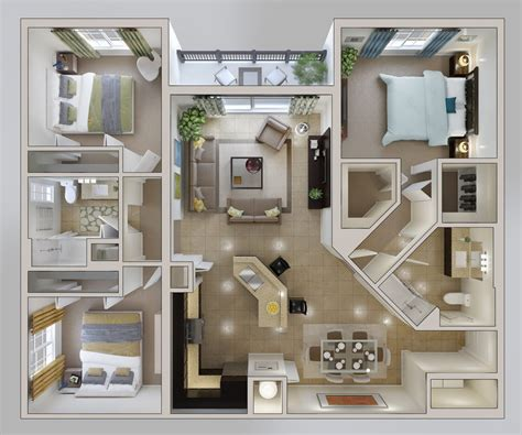 3 Bedroom Apartmenthouse Plans  Home Decor And Design