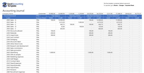 accounting journal template free accounting templates in excel for your business