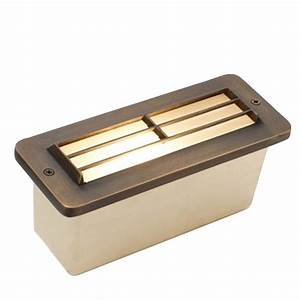 brass bunker louvered step light outdoor lighting volt With low voltage outdoor lighting for steps