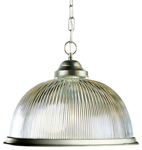 one light brushed nickel clear ribbed halophane glass