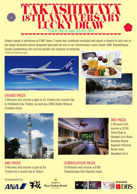 takashimaya  anniversary lucky draw great deals