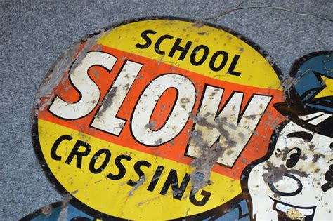 Rare Large Vintage 1955 7 Up 7up Slow School Crossing Soda