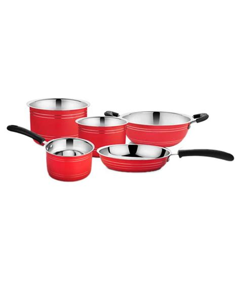 cookaid red stainless steel cookware set  pieces buy    price  india snapdeal