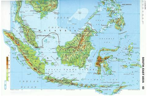 Large Detailed Topographical Map Of Malaysia. Malaysia