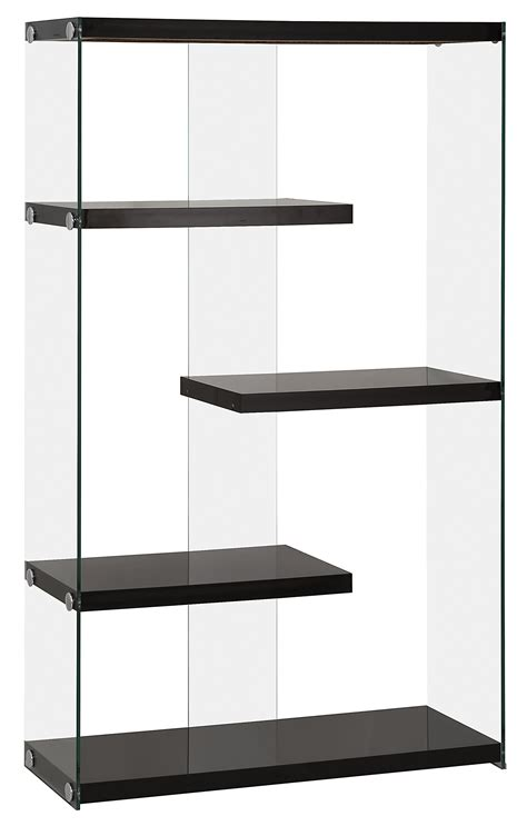 Black Wood Bookcase by Contemporary Black Wood Glass Bookcase W Fixed Shelves