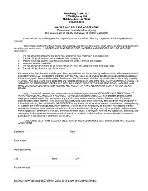 Liability Waiver Template Waiver Of Liability Form Template Portablegasgrillweber