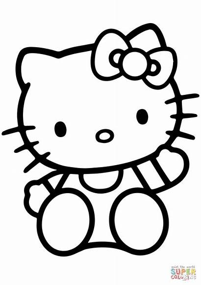 Kitty Hello Coloring Pages Printable Cartoon Drawing