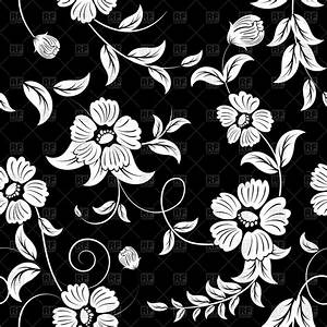 Seamless black floral pattern with white flowers Royalty ...