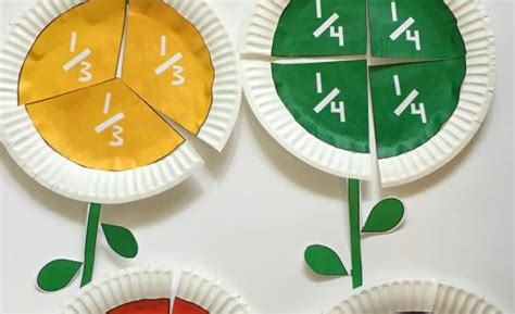 fraction flowers  paper plates math activities