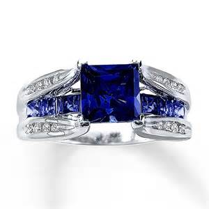 lab created sapphire engagement rings lab created sapphire ring 1 8 ct tw diamonds 10k white gold