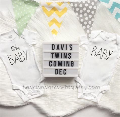 set  baby baby twin pregnancy announcement onesies