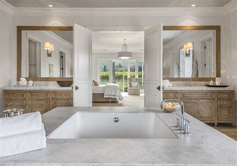 master bedroom with ensuite napa valley farmhouse with neutral interiors interior 16155