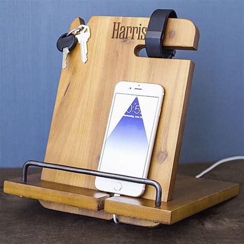 personalized wood phone docking station organizer wood