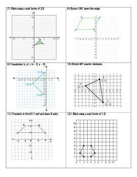 transformations practice packet  grade math  math