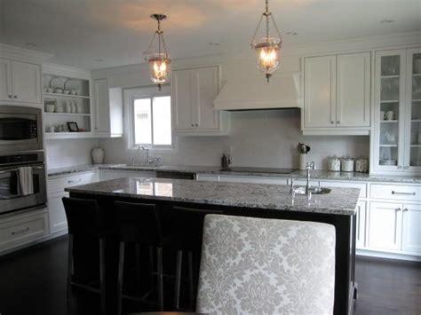 white kitchen with bianco antico granite home interior