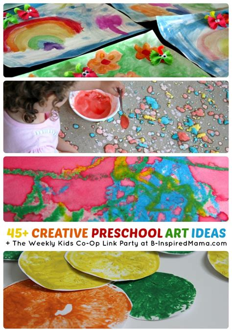 45 creative preschool ideas the co op link 998 | Over 45 Creative Preschool Art Ideas The Weekly Kids Co Op Link Party at B Inspired Mama