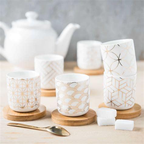 coffret  tasses  soucoupes en porcelaine shopping