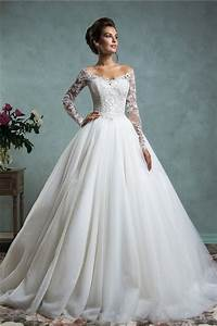 sexy ball gown off the shoulder tulle lace wedding dress With wedding dress ball gown with sleeves