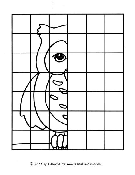 owl complete the picture drawing printables for