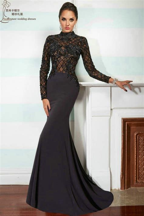Long Sleeve Prom Dress 2015 Mp1003 Elegant Long Black