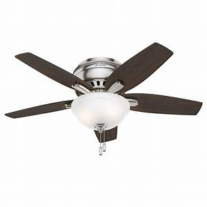Quot hunter low profile ceiling fan in brushed nickel with