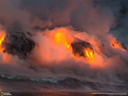 Geographic National Hawaii Mountains Lava Landscapes Wallpapers