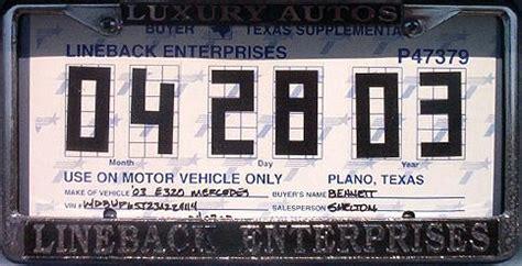 texas temporary license plate y2k