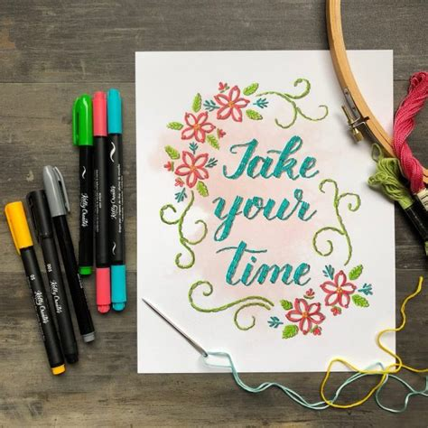 beauty  lettering quote pad faux embroidery